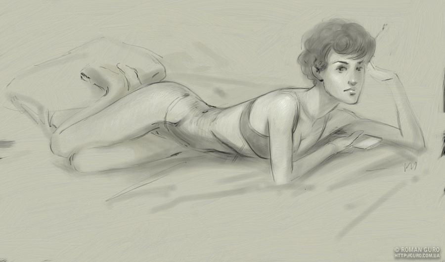 Наброски: Настя в кровати)) Непонятное что-то с ArtPartk